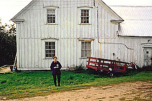 CATHOLINE stands outside Martin Brown's family homestead in Venosta, Quebec.