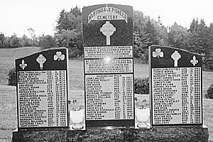 THE MONUMENT with the names of all those buried in Martindale Pioneer Cemetery.