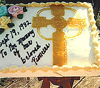 AFTER THE MEMORIAL for the Celtic cross a celebration was held at Martin Brown's farm. He arranged for a special cake to be baked to commemorate the pioneers.