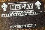 LIAM'S MEMORIAL in the new graveyard.