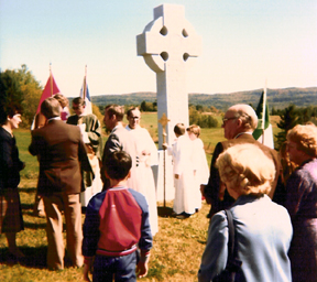 FR. O'MALLEY celebrated Mass in Irish at the dedication ceremony for the Celtic Cross at Martindale, Quebec in 1982.