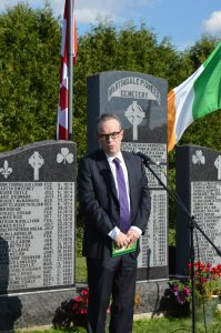 JIM KELLY the new Ambassador of Ireland to Canada was an honored guest at the commemoration ceremony at Martindale Pioneer Cemetery in Quebec. He gave a short address to the assembled guests.