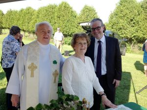 FATHER Larry McCormick with Catholine Butler [Elaine Gannon], and Jim Kelly the new Irish Ambassador to Canada.