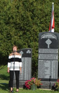MARY Comerton sang both the Amhrán na bhFiann (the Irish national anthem) and O Canada, the Canadian national anthem.